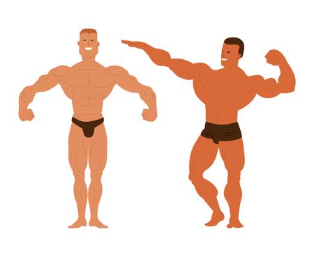 model posing: Muscular, bearded man bodybuilder vector illustration. Fitness model bodybuilder, posing, bodybuilding style man. Isolated mens physics muscle sport healthy body. Gym fitness bodybuilder man