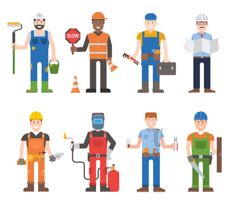 Construction worker wearing yellow helmet and overall work clothes working with different tools. Set of workers man vector character design isolated. Business person professional workers man. Stock Vector - 61318517