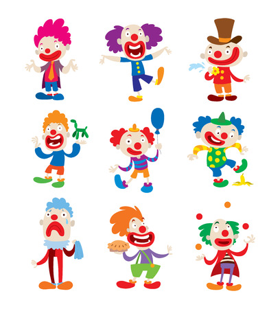 buffoon: Set of clown character performing different fun activities vector cartoon illustrations. Clown character funny happy costume cartoon joker. Fun makeup and carnival smile hat nose clown character.