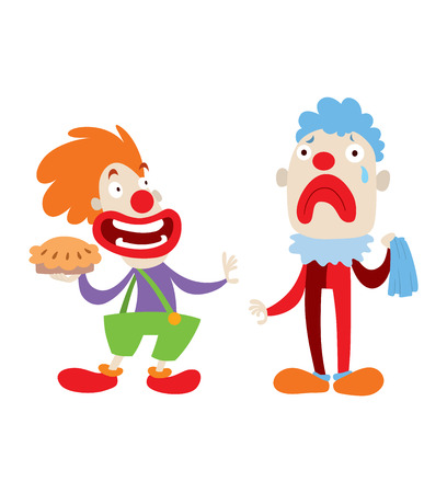 Set of clown character performing different fun activities vector cartoon illustrations. Clown character funny happy costume cartoon joker. Fun makeup and carnival smile hat nose clown character.