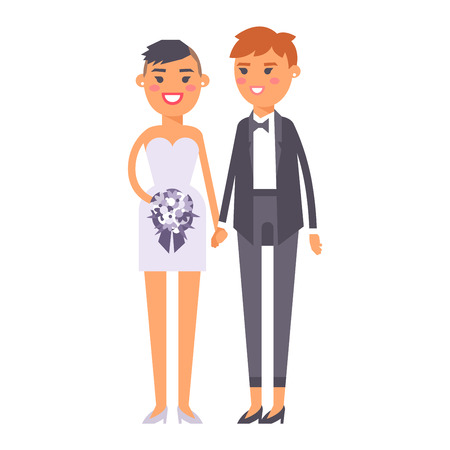 homosexual wedding: Happy lesbian couple in wedding attire and casual clothes. Gender civil union romance wedding lesbian couple together ceremony. Homosexual marriage happy groom wedding lesbian couple vector.