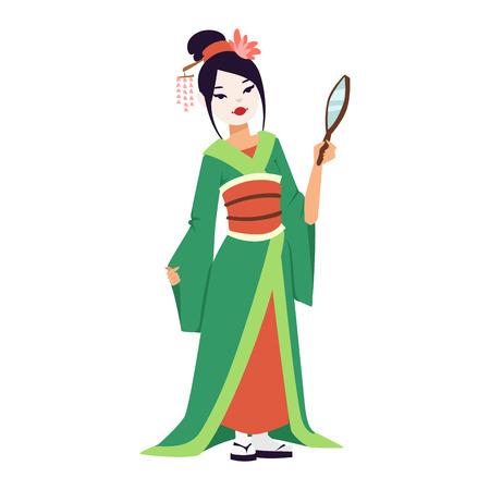 geisha kimono: Vector kokeshi doll japanese geisha girl character. Colorful kimono pretty traditional woman beautiful makeup japanese geisha girl. Japanese geisha girl fashion culture beauty art.