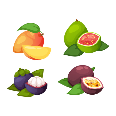 frutas tropicales: Mix of colored tropical fruits on white background. Composition of tropical and mediterranean fruits healthy food concepts decoration. Vitamin healthy eating food tropical fruits vegetarian nutrition.