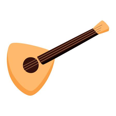 balalaika: Vector music instrument balalaika guitar. Folk musical instrument balalaika isolated on white. Melody symbol balalaika guitar acoustic sound classical violin. Folk equipment isolated balalaika. Illustration