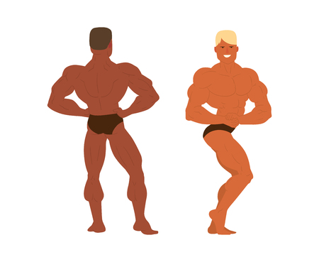 handsome men: Muscular, bearded man bodybuilder vector illustration. Fitness model bodybuilder, posing, bodybuilding style man. Isolated mens physics muscle sport healthy body. Gym fitness bodybuilder man