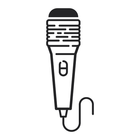 vocal: Different microphones types vector icons. Journalist microphone, interview , music studio. Web broadcasting microphone, vocal tool, tv show microphone.