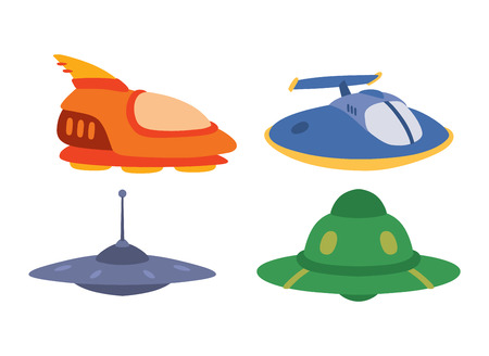unidentified: UFO craft plane and space station silhouette vector. Unidentified antenna planet travel universe UFO spaceship. Flying technology science UFO spaceship mystery rocket, cartoon design.