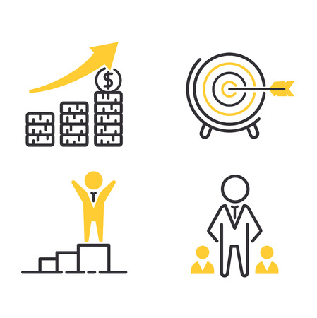 motivations: Vector set motivations icons related to business management, strategy, career progress and business process. Mono line motivations icons pictograms and infographics motivations design elements.