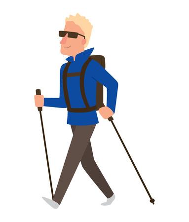 Nordic walkers vector teken leuke vrijetijdsbesteding gelukkige mensen. Nordic walking sport gezonde levensstijl oefening ontspanning. Wandelen recreatie training nordic walking sport actieve mensen.