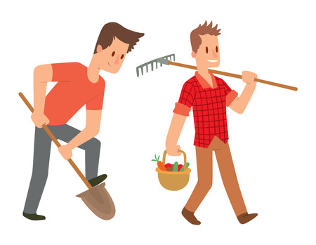 Picking fresh vegetable in garden people character. Agriculture farm green garden harvest people organic outdoors agriculture people. Happy growth garden harvest working people. Ilustração Vetorial