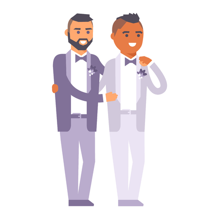 Happy gay couple in wedding attire and casual clothes. Gender civil union romance wedding gay couples together ceremony. Homosexual marriage happy groom wedding gay couples vector. Illustration