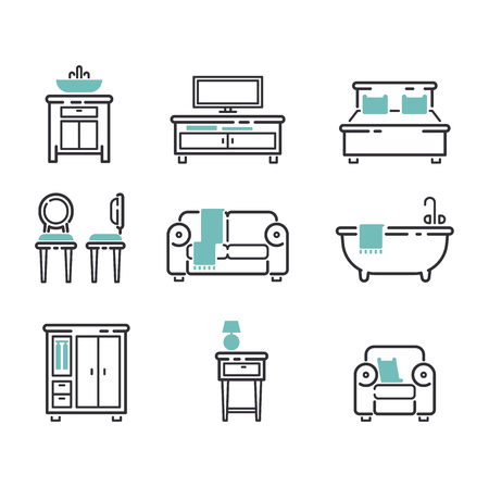 home furniture: Furniture and home decor icon set vector illustration. Indoor cabinet interior room library, office bookshelf furniture icons. Modern closet bedroom silhouette furniture icons outline decoration.