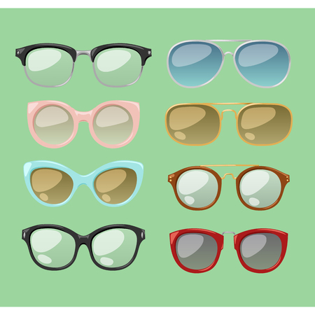 fashion glasses: Vector glasses isolated on background. Hipster fashion glasses. Glasses tool for human face isolated vector illustration