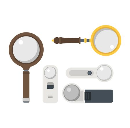 optical instrument: Optical magnifier loupe icons symbols abstract vector illustration. Research interface business search instrument magnifier loupe icons. Research exploration sign magnifier loupe icons equipment. Illustration