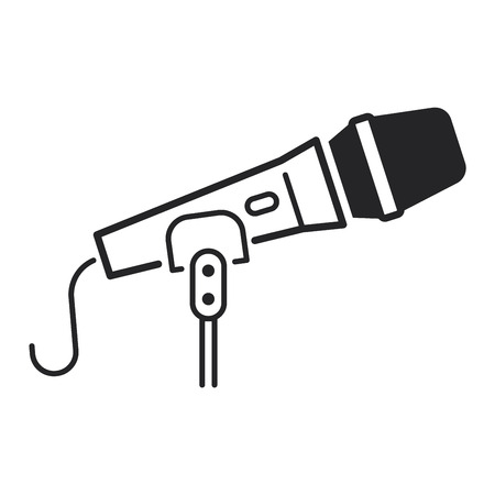 mike: Microphone vector icon illustration isolated on white background. Vector microphone icon sign. Mike black icon, mike voice tool Illustration
