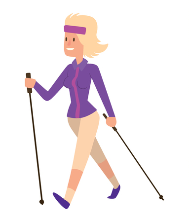 Nordic walkers vector character fun leisure happy people. Nordic walking sport healthy lifestyle exercise leisure. Hiking recreation training nordic walking sport active people.