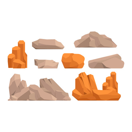 geology: Stones and rocks in cartoon style big building mineral pile. Boulder natural rocks and stones granite rough. Vector illustration rocks and stones nature boulder geology gray cartoon material. Illustration