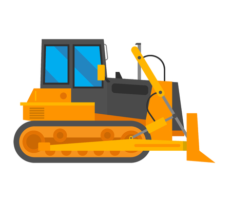 Vector excavator isolated on white background. Vector excavator vehicle silhouette. Under construction caterpillar truck excavator Illustration