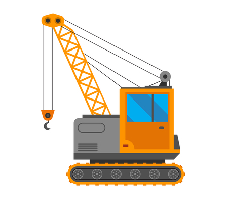 Vector crane truck isolated on white background. Vector crane truck under construction. Under construction caterpillar crane truck excavator Illustration