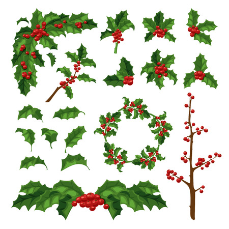 Merry Christmas mistletoe with berry frame. Traditional hand drawn christmas berry decoration greeting card. Holiday vector christmas berry decoration floral design isolated on white background. 일러스트