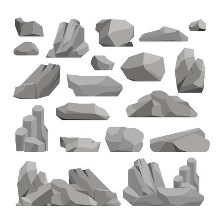 Piedras y rocas en estilo de dibujos animados pila de mineral de gran edificio. Boulder piedras naturales y piedras de granito en bruto. Vector ilustración rocas y piedras la naturaleza del canto rodado geología material gris de dibujos animados. Ilustración de vector