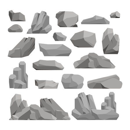 Stones and rocks in cartoon style big building mineral pile. Boulder natural rocks and stones granite rough. Vector illustration rocks and stones nature boulder geology gray cartoon material. Çizim