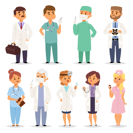 Different doctors characters set of different poses and gestures paying attention or point to anything. Vector illustration of a man amd woman in white coat. Flat style different doctors characters.