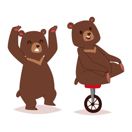 mammal: Collection of cute cartoon bear emotions icon. Brown character happy smiling bear drawing mammal teddy smile. Cheerful mascot cartoon bear grizzly, young, baby animal zoo collection.