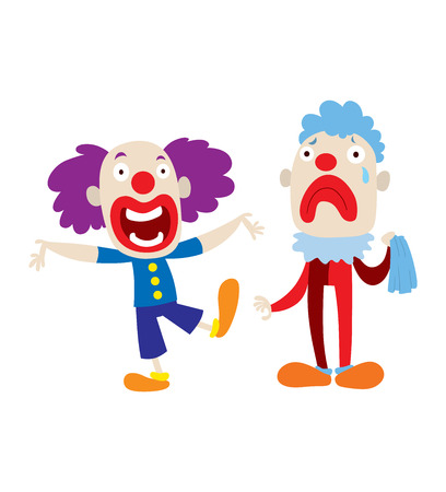 stage makeup: Set of clown character performing different fun activities vector cartoon illustrations. Clown character funny happy costume cartoon joker. Fun makeup and carnival smile hat nose clown character.