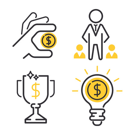 Vector set motivations icons related to business management, strategy, career progress and business process. Mono line motivations icons pictograms and infographics motivations design elements.