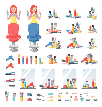 haircutting: Hairdressing related objects set vector style collection. Female barber design fashion hairstyle haircut icons barber design. Hairdressing scissors accessories haircut icons style collection.