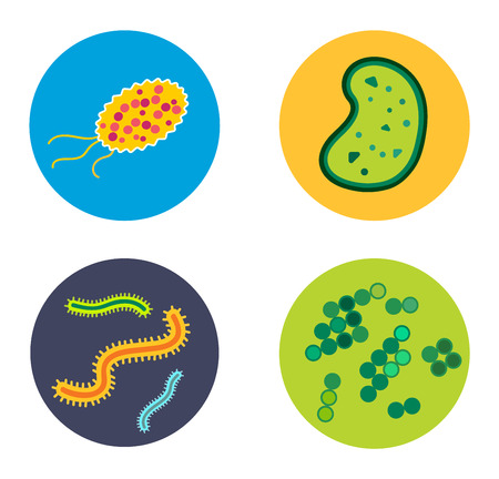 microbio: Bacteria virus vector icon. Biology microorganisms, microbes germs and bacilli. Vector biology icons, medical virus icons, bugs isolated. Virus science microbe vector icon. Virus bacteria icon