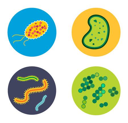 microbio: virus de las bacterias del icono del vector. Biolog�a microorganismos, microbios y g�rmenes bacilos. biolog�a iconos vectoriales, iconos de virus, errores m�dicos aislados. ciencia Virus icono microbio del vector. icono de virus bacterias