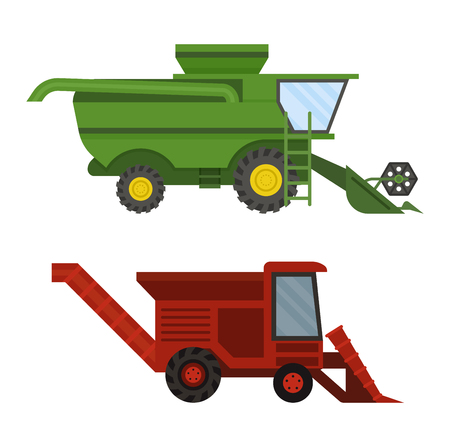 technic: Vehicle tractor farm vector illustration isolated on white background. Construction industry farm harvesting machinery equipment tractors