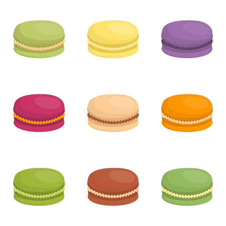 macaron: Sweet and colourful french macaroon cake on white background. Dessert fruit macaroon and sweet cake. Pasty traditional sweet macaroon biscuit dessert france delicious.