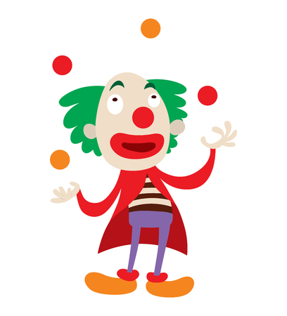buffoon: Clown character performing different fun activities vector cartoon illustrations. Clown character funny happy costume cartoon joker. Fun makeup and carnival smile hat nose clown character circus