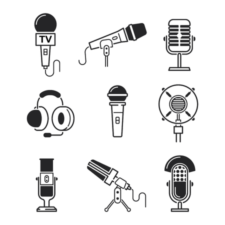 tv show: Different microphones types vector icons. Journalist microphone, interview , music studio. Web broadcasting microphone, vocal tool, tv show microphone.