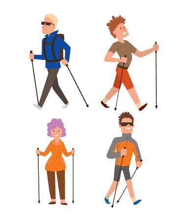 Groep van nordic walkers vector tekenset leuke vrijetijdsbesteding gelukkige mensen. Nordic walking sport gezonde levensstijl oefening ontspanning. Wandelen recreatie training nordic walking sport actieve mensen. Vector Illustratie