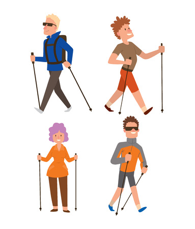 jogging in nature: Group of nordic walkers vector character set fun leisure happy people. Nordic walking sport healthy lifestyle exercise leisure. Hiking recreation training nordic walking sport active people. Illustration
