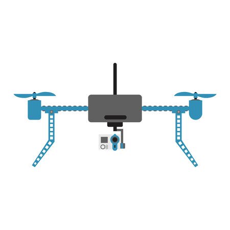 unmanned: Vector illustration aerial vehicle drone quadcopter surveillance unmanned innovation. Air drone hovering wireless vehicle vector. Remote control drone quadcopter set aircraft fly aerial camera.