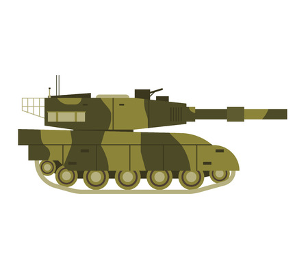 artillery: Self propelled artillery isolated with road fragment and military vehicle isolated. Tank isolated defense, heavy, soviet forces and isolated combat track transportation history barrel. Illustration