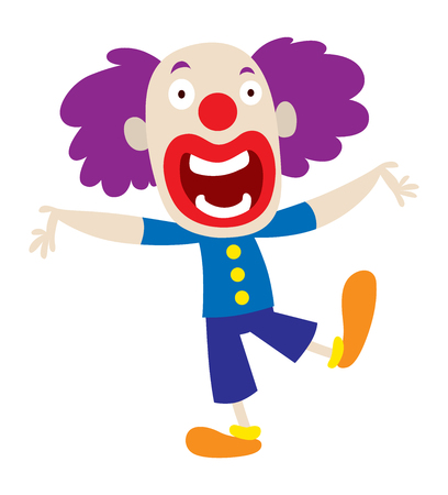 stage makeup: Clown character performing different fun activities vector cartoon illustrations. Clown character funny happy costume cartoon joker. Fun makeup and carnival smile hat nose clown character circus