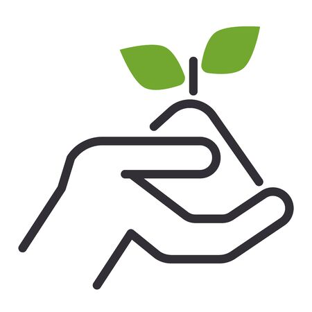 investing: Vector flat icons design money flower sign nature save concept. Plant flower in the hand. Nature savings earth life flower tree growth concept icon, Business investing concept Illustration