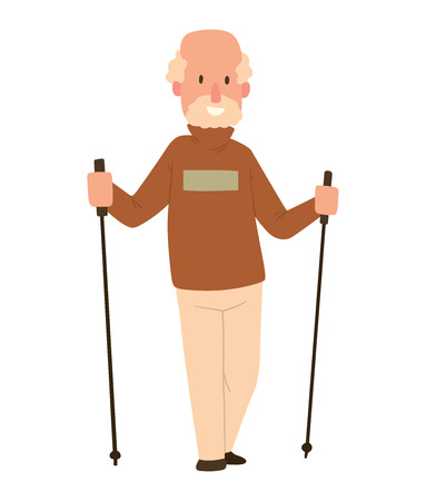 jogging in nature: Nordic walkers vector character fun leisure happy people. Nordic walking sport healthy lifestyle exercise leisure. Hiking recreation training nordic walking sport active people. Illustration