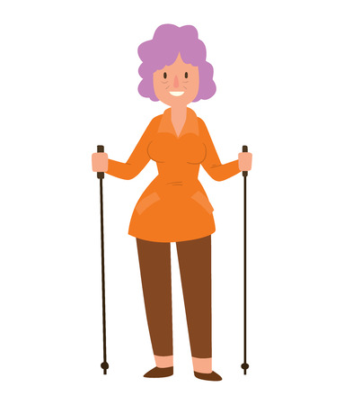 Nordic walkers vector character fun leisure happy people. Nordic walking sport healthy lifestyle exercise leisure. Hiking recreation training nordic walking sport active people. Illustration