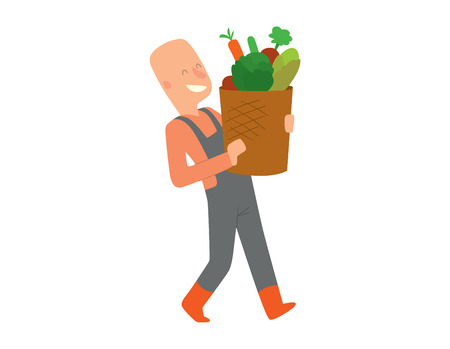 Picking fresh vegetable in garden people character. Agriculture farm green garden harvest people organic outdoors agriculture people. Happy growth garden harvest working people. Illustration