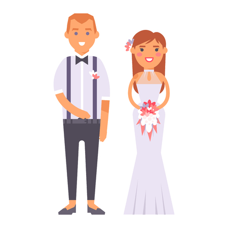 white dress: Happy bride and groom on wedding romance love couple vector. Bride white dress and groom, marriage beauty wedding people happiness love couple. Bride and groom romantic two couple.