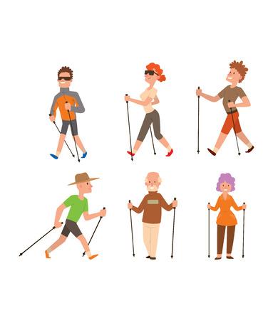 Groep van nordic walkers vector tekenset leuke vrijetijdsbesteding gelukkige mensen. Nordic walking sport gezonde levensstijl oefening ontspanning. Wandelen recreatie training nordic walking sport actieve mensen. Stock Illustratie