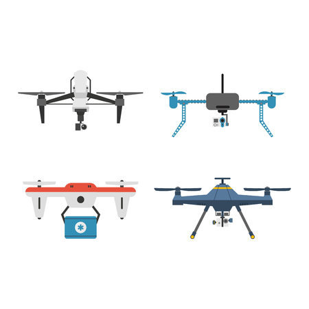 Vector illustration aerial vehicle drone quadcopter surveillance unmanned innovation. Air drone hovering wireless vehicle vector. Remote control drone quadcopter set aircraft fly aerial camera.
