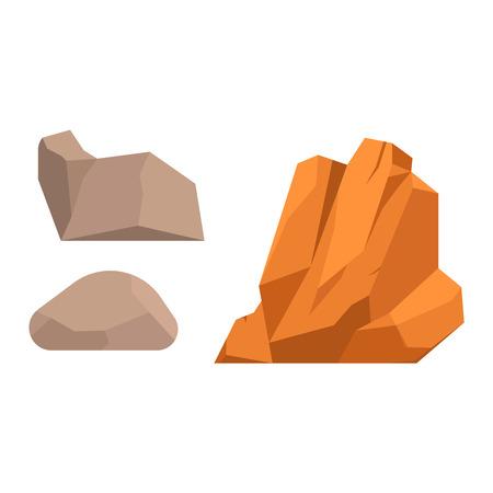 Steine ??und Felsen im Cartoon-Stil große Gebäude Mineral Haufen. Boulder natürliche Felsen und Steine ??Granit rau. Vektor-Illustration Felsen und Steine ??Natur Felsblock Geologie grau Cartoon Material.